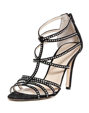 Crystal Embellished Leather Sandals