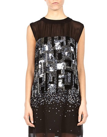 Sequin-embroidered Chiffon Dress