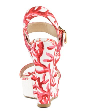 Coral-print Wedge Sandals