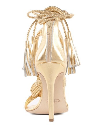 Braided Gold-leather Heeled Sandal