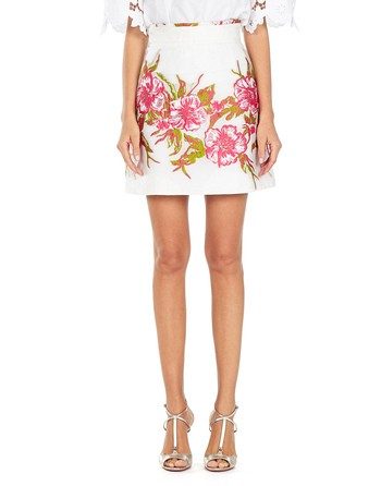 Floral Embroidered Mini Skirt