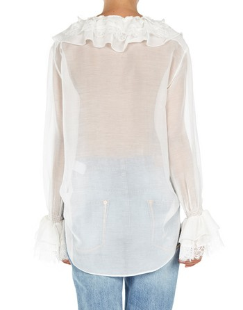 Silk And Cotton Blend Ruffled Blouse