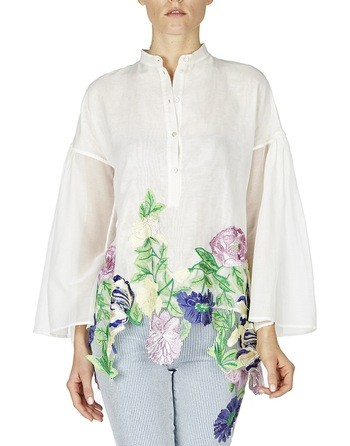 Rose-embroidered Cotton Blouse