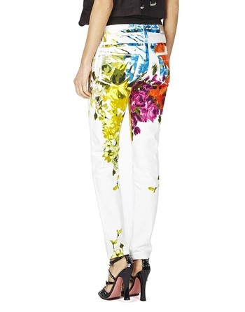 Floral-print White Jeans
