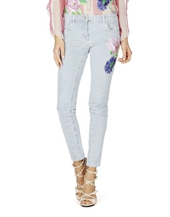 Striped Denim With Floral Embroidery