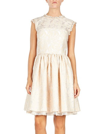 Jacquard And Lace-trimmed Dress