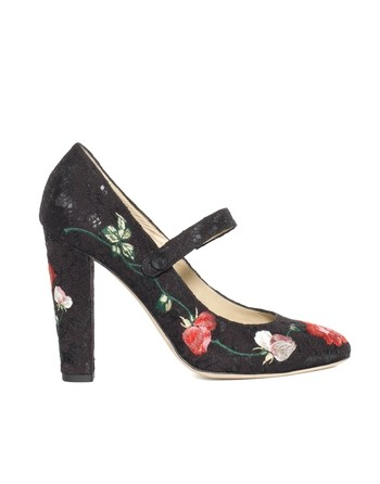 Lace Pumps With Floral Embroidery Work