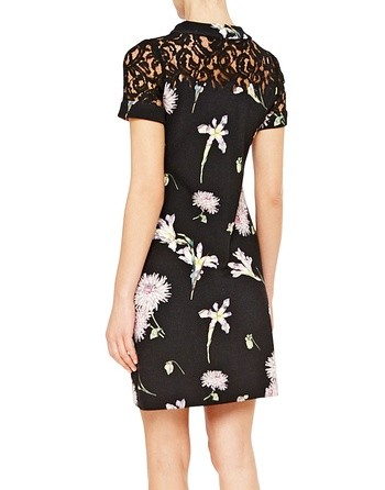 Wool Knit Dress With Floral Print