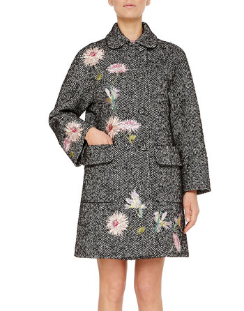 Chevron Double-breasted Coat With Floral Embroidery Work