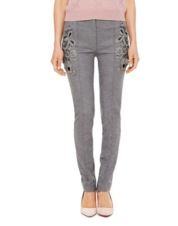 Wool Jersey Trousers With Macramé Lace