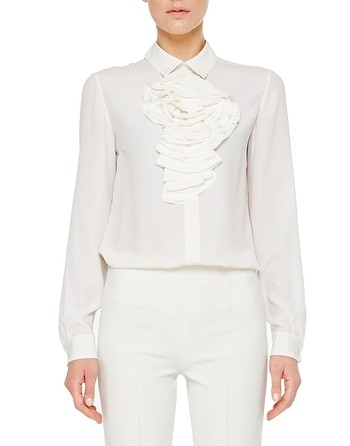 Crepe De Chine Shirt With Rose Of Rouches