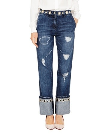 Jeans With Stone Wash Effects And Golden Eyelets