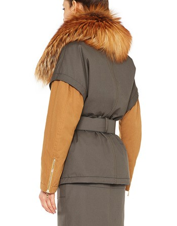 Technical Cotton Parka With Fox Fur