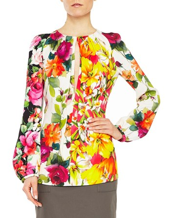 Twill Blouse With Arty Flowers Print