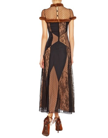 Long Lace And Silk Dress With Mink