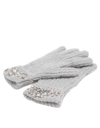 Wool And Cashmere Gloves With Swarovski Embroidery Work