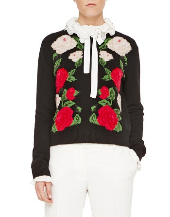 Cardigan With Inlaid Floral Embroidery Work
