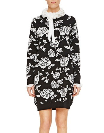 Mini Dress In Jacquard Knit With Roses