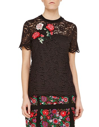 Lace T-shirt With Floral Embroidery Work