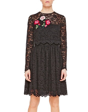 Lace Dress With Floral Embroidery Work
