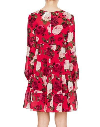 Chiffon Dress With Roses Print