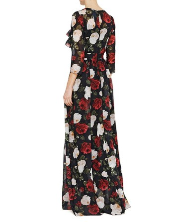 Long Chiffon Dress With Roses Print