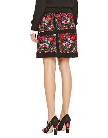 Crepe Skirt With Floral Embroidery Work