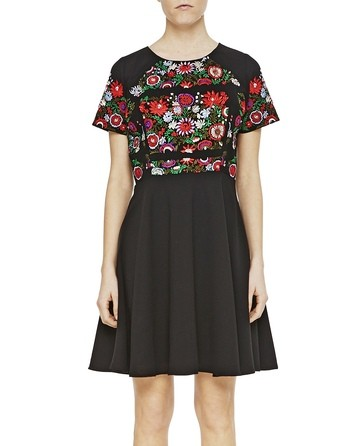 Crepe Dress With Floral Embroidery Work