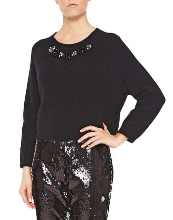 Wool And Cashmere Jumper With Jewel Embroidery Work