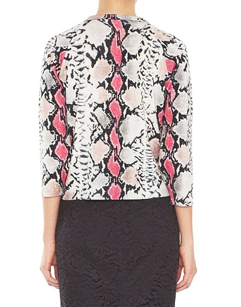 Stretch Wool Python Print Jumper With Bow